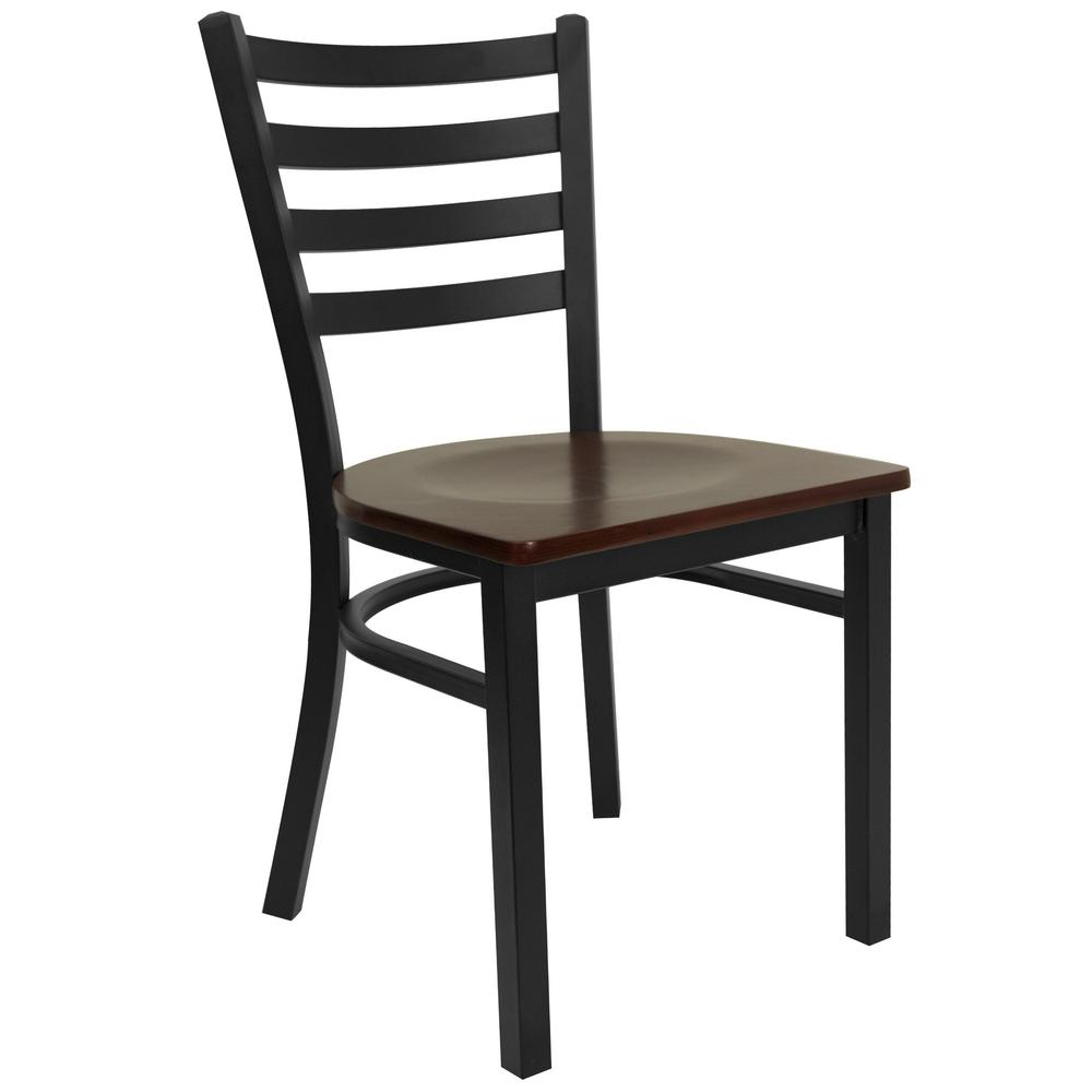 Hercules Series Black Ladder Back Metal Restaurant Chair - Mahogany Wood Seat, Black/Brown