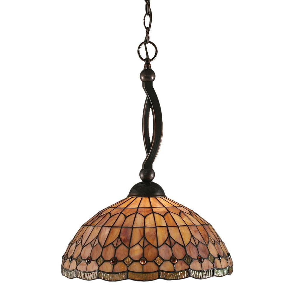 Filament Design Concord 1-Light Black Copper Pendant with Rosetta Tiffany Glass