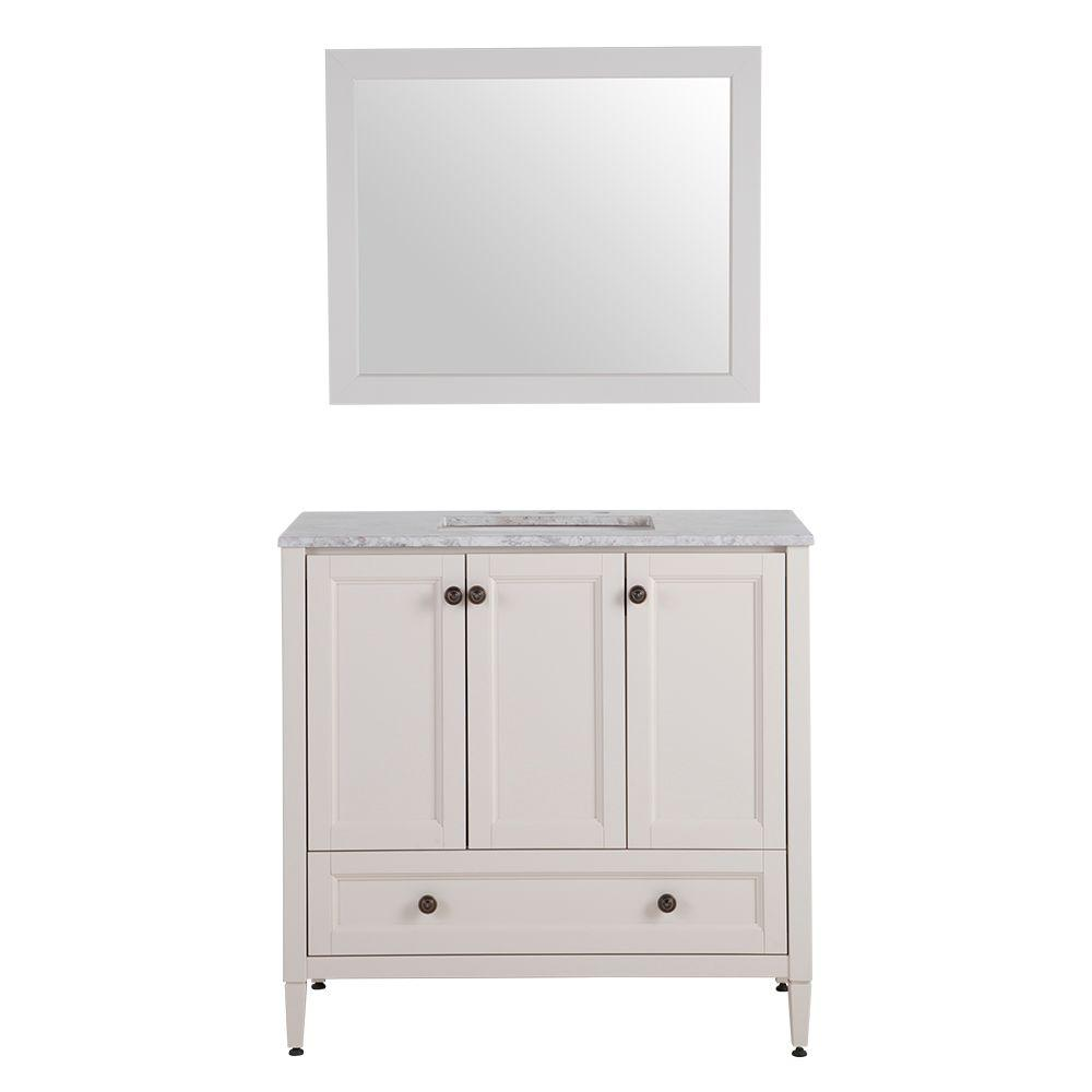 Home Decorators Collection Claxby 37 In W X 19 D Bath Vanity Cream With Stone Effects Top Winter Mist And Mirror CB36P3 CR