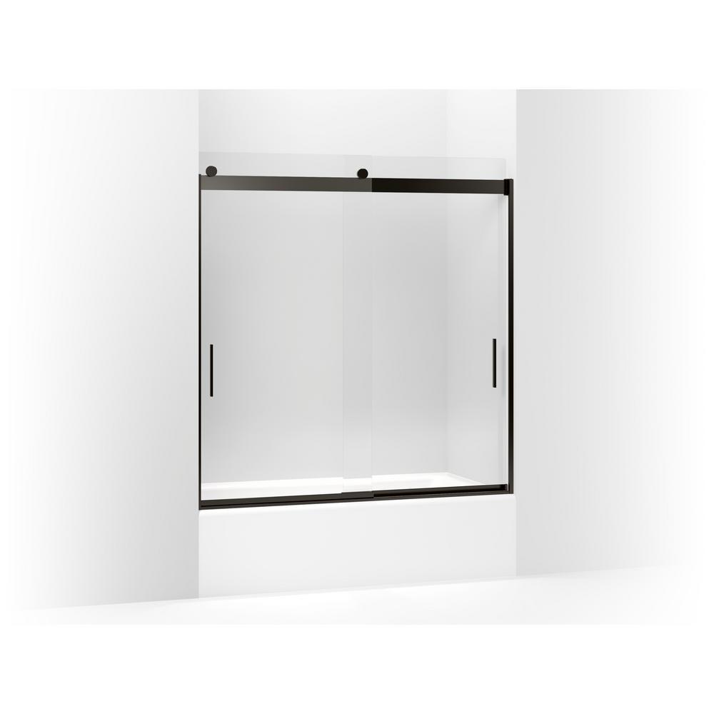 Levity 59.625 in. W x 62 in. H Frameless Sliding Tub Door in Anodized Dark Bronze