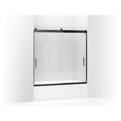 Levity 59.625 in. x 62 in. Frameless Sliding Tub Door in Anodized Dark Bronze with Handle