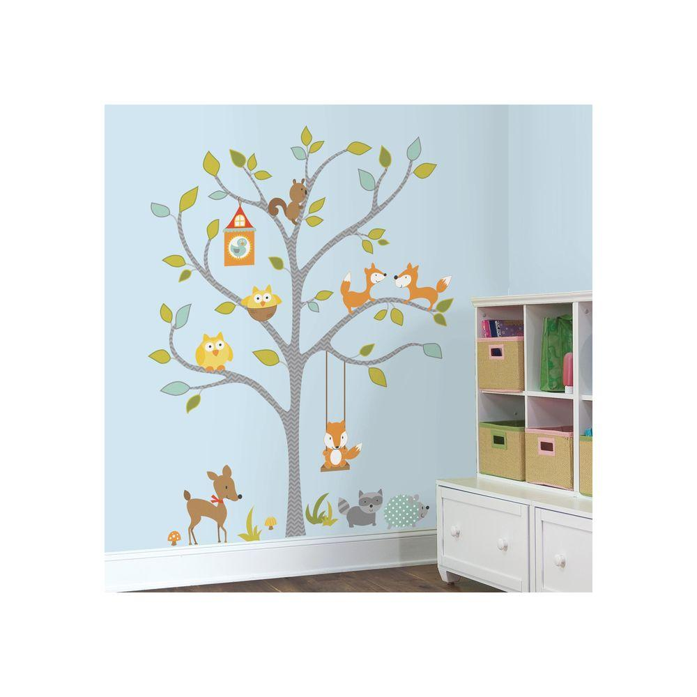 Charmant RoomMates 2.5 In. X 27 In. Woodland Fox And Friends Tree 80 Piece