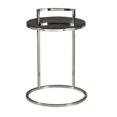 Contemporary Round Stainless Steel and Glass Side Table