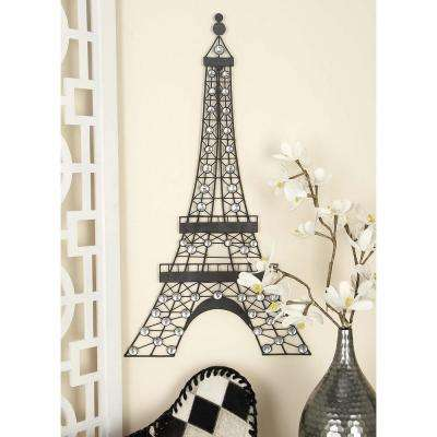 18 in. x 32 in. Traditional Eifel Tower Wall Decor in Matte Black Iron