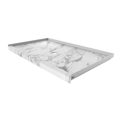 36 in. x 60 in. Single Threshold Shower Base with Center Drain in Calacatta White