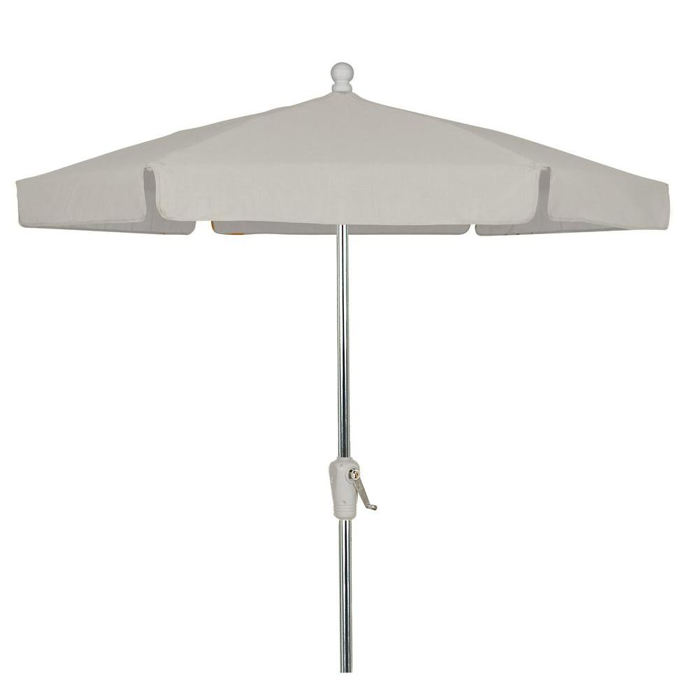 7.5 ft. Bright Aluminum Garden Patio Umbrella in Natural Vinyl Coated
