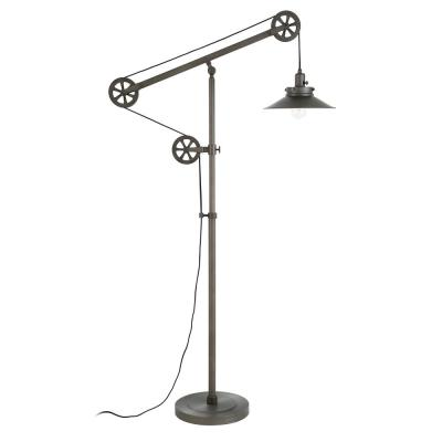 Descartes 70 in. Aged Steel Wide Brim Floor Lamp with Pulley System