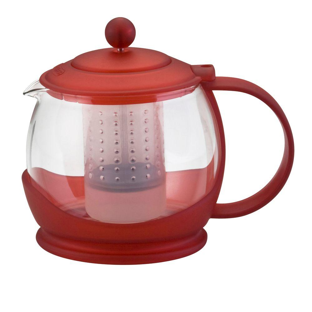 BonJour Prosperity Teapot with Shut-Off Infuser in Red-DISCONTINUED