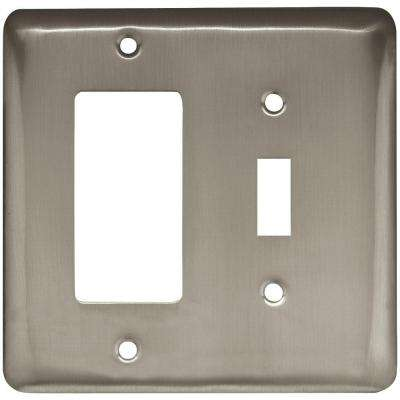 Stamped Round Decorative Switch and Rocker Switch Plate, Satin Nickel