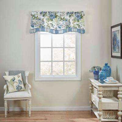 18 in. L Floral Engagement Cotton Window Valance in Porcelain