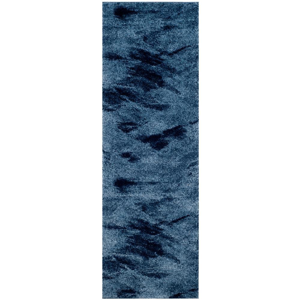 Retro Light Blue/Blue 2 ft. 3 in. x 13 ft. Runner Rug