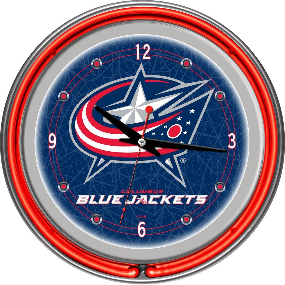 Trademark Global 14 in. Columbus Blue Jackets NHL Neon Wall Clock