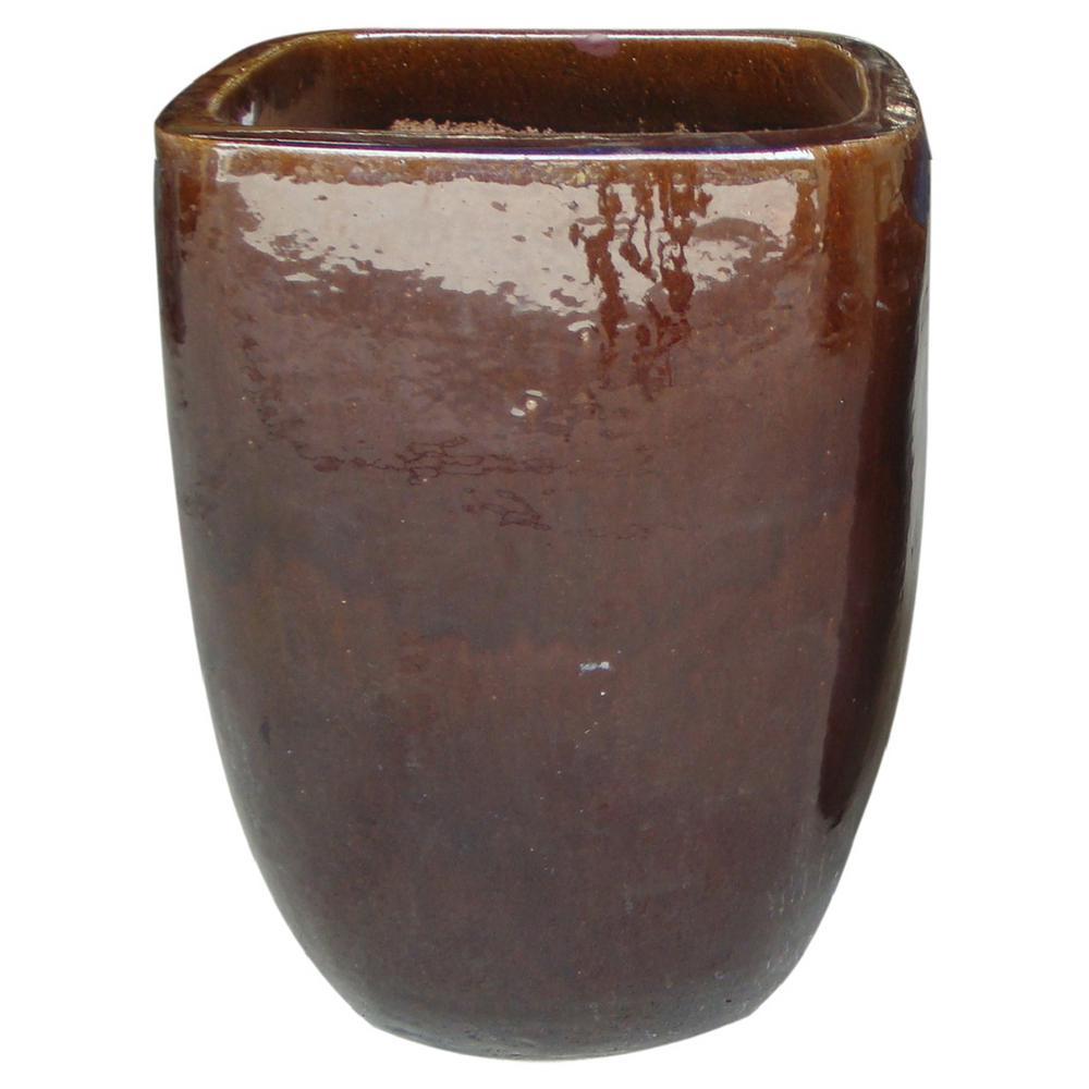 null 16 in. Dia Cognac Brown Ceramic Quadrato Pot