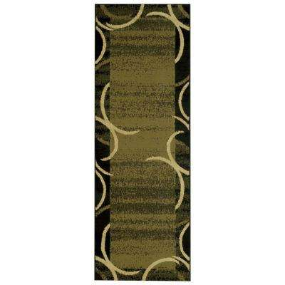 Pasha Collection Green 3 ft. x 10 ft. Runner Rug