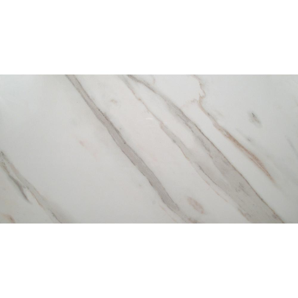 MSI Calacatta Ivory 12 in. x 24 in. Glazed Polished Porcelain Floor and Wall Tile (16 sq. ft. / case)