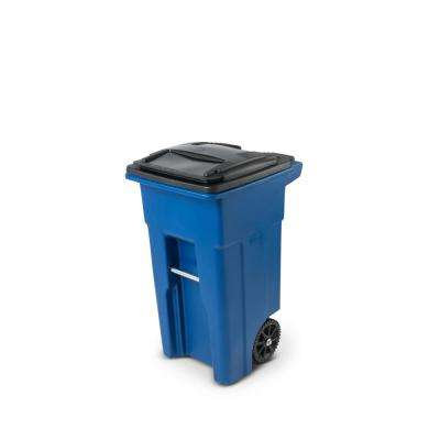 32 Gal. Blue Trash Can with Wheels and Attached Lid