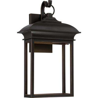 1-Light Mahogany Bronze Outdoor Integrated LED Wall Mount Sconce
