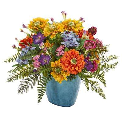 Indoor Mixed Floral Artificial Arrangement in Blue Vase