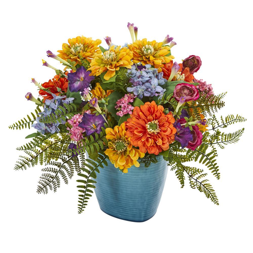 Indoor Mixed Floral Artificial Arrangement in Blue Vase