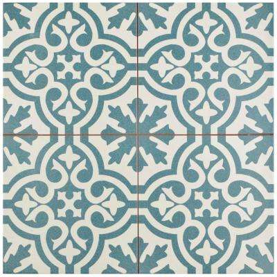 Berkeley Blue Encaustic 17-5/8 in. x 17-5/8 in. Ceramic Floor and Wall Tile (11.1 sq. ft. / case)