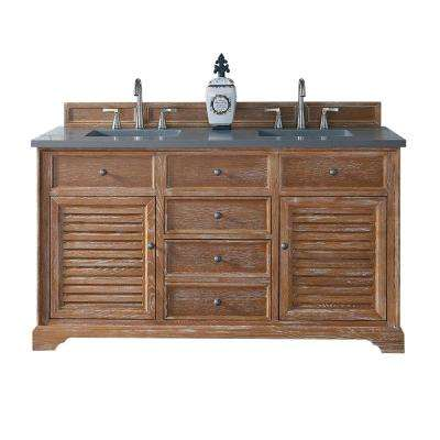 Savannah 60 in. W Double Vanity in Driftwood with Quartz Vanity Top in Gray with White Basin