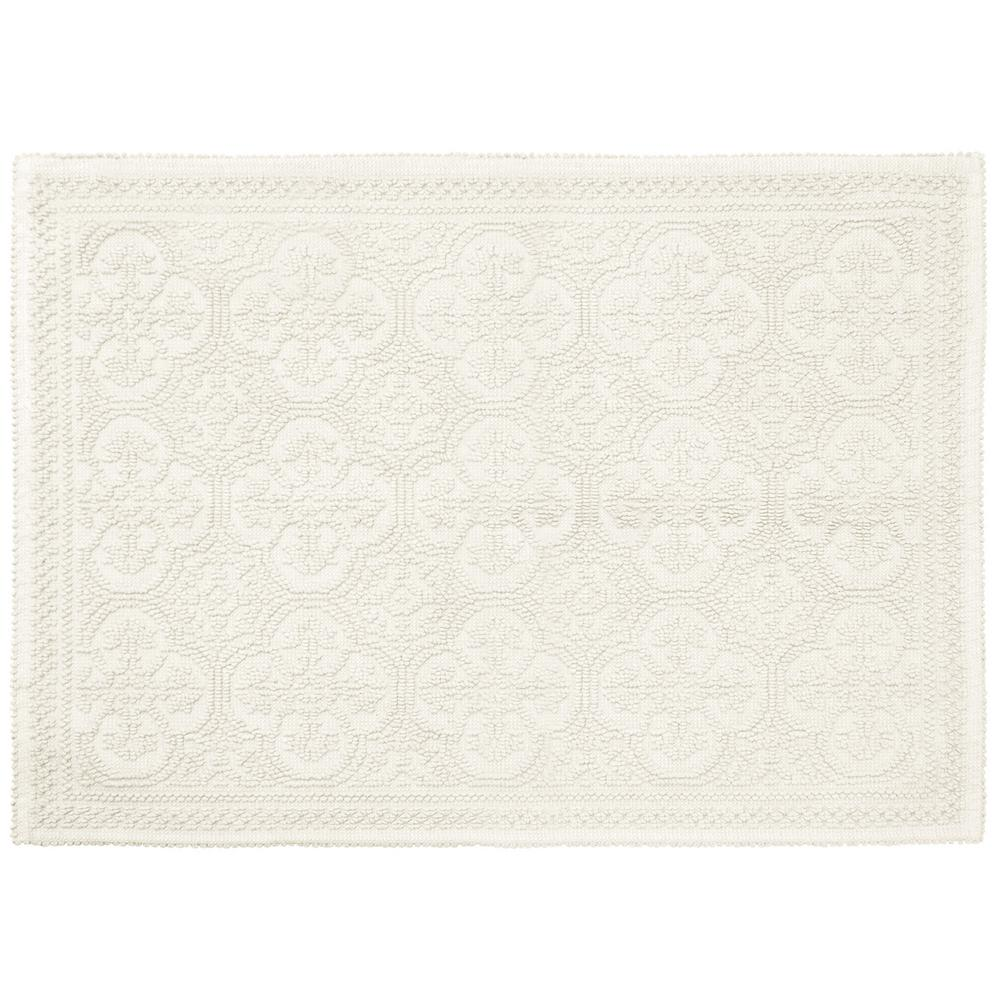 Clementine Beaded Cotton 27 in. x 45 in. Bath Rug, White