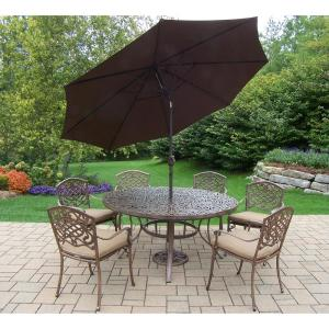9-Piece Aluminum Outdoor Dining Set Sunbrella Beige Cushions and Brown Umbrella by