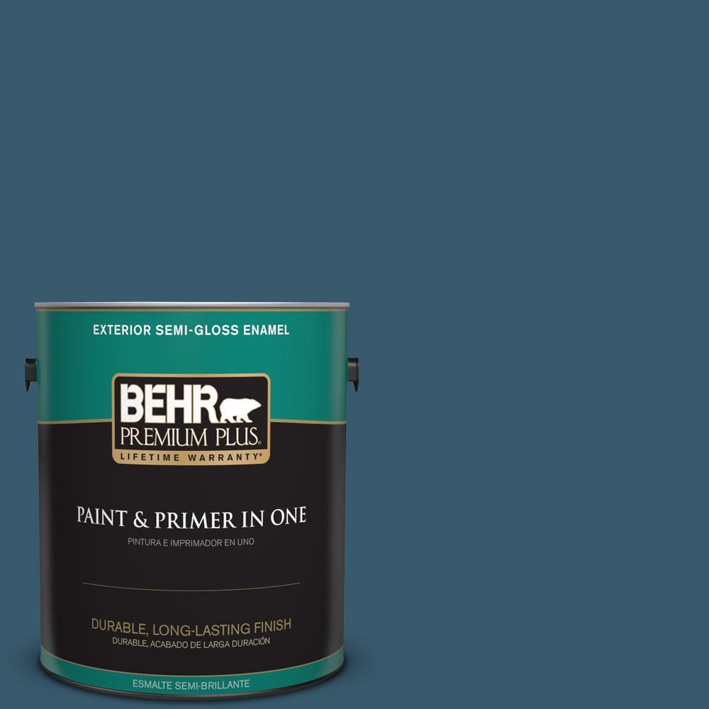 1-gal. #550F-7 Blue Spell Semi-Gloss Enamel Exterior Paint