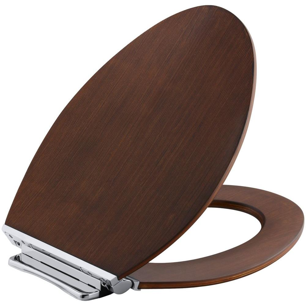 wooden toilet seat hinges. Avantis Elongated Closed Front Toilet Seat in Light Antique Walnut with  Polished Chrome Hinges Medium Brown Wood Seats Toilets