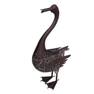 24 in. Steel Indoor/Outdoor Animal Garden Duck Metal Sculpture Statue with Solar Light