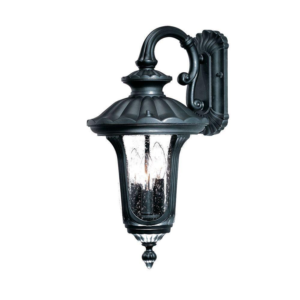 Augusta Collection 3-Light Matte Black Outdoor Wall-Mount Light Fixture