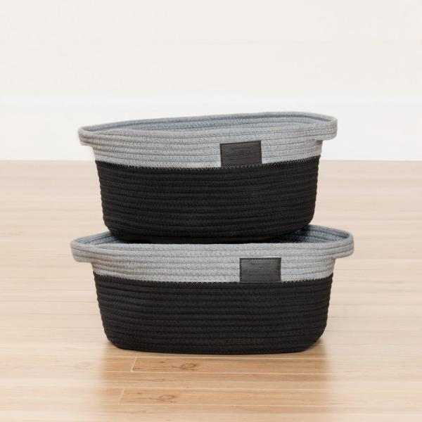 South Shore 12 in. x 7 in. Storit Gray and Black Knit Basket (2-Pack)