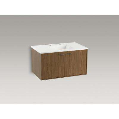 Jute 36 in. W Wall-Hung Vanity Cabinet in Walnut Flax with Vitreous China Vanity Top in White Impressions with Basin