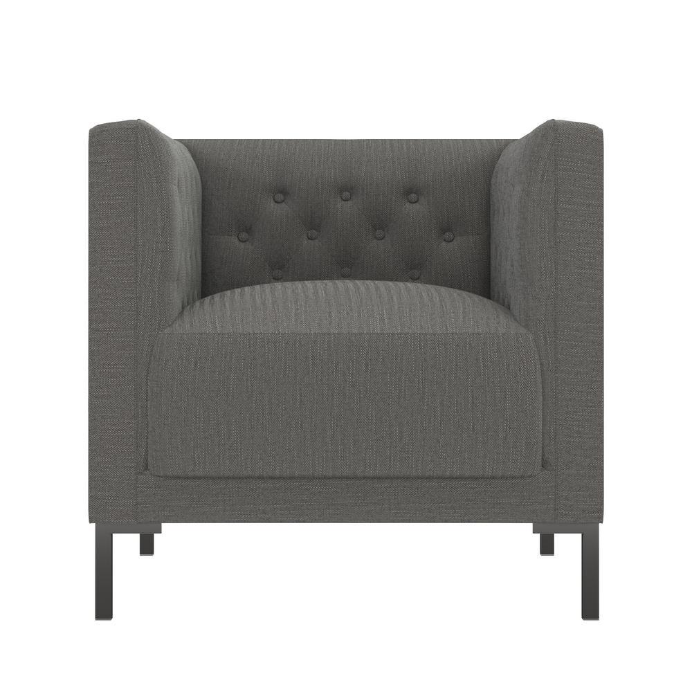 Bronson Upholstered Button Tufted Club Chair in Smoke Gray Herringbone