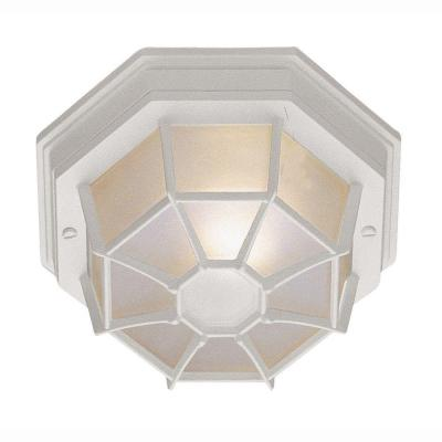 Web 1-Light Outdoor White Ceiling Fixture with Frosted Glass