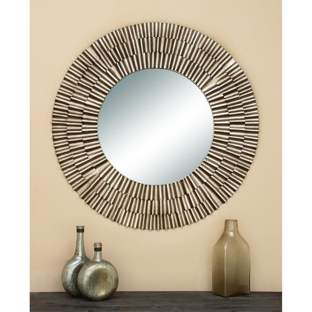 Contemporary Mirrors Brilliant 41 In Fluted Framed Mirror Intended I