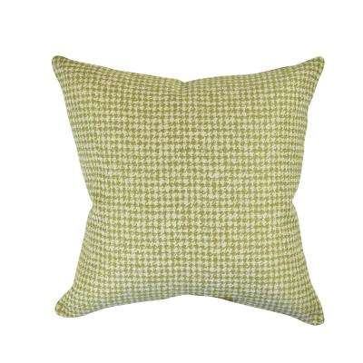Lime Green Houndstooth Woven Throw Pillow
