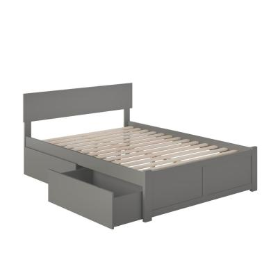 Orlando Full Platform Bed with Flat Panel Foot Board and 2 Urban Bed Drawers in Grey