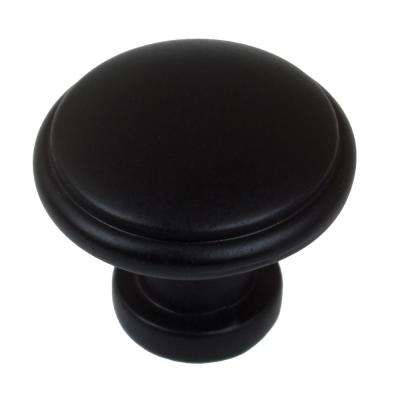 1-1/8 in. Dia Matte Black Round Ring Cabinet Knob (10-Pack)