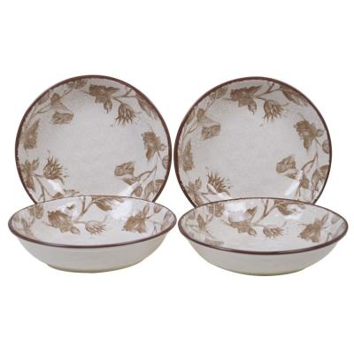 Toile Rooster Multi-color Soup/Pasta Bowl (Set of 4)