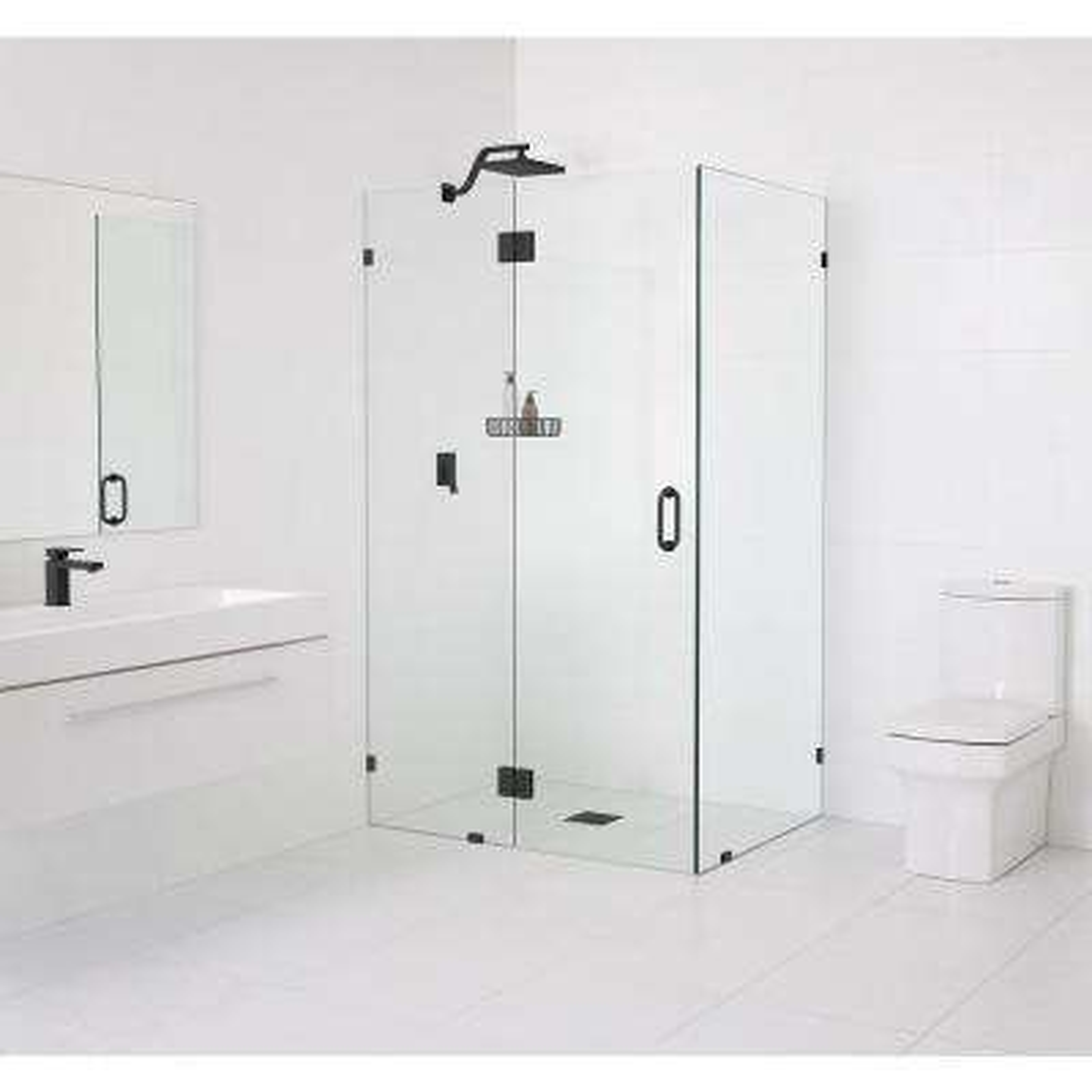 90° Glass-Hinged 47 in. x 78 in. x 35.5 in. Frameless Pivot Shower Door in Matte Black