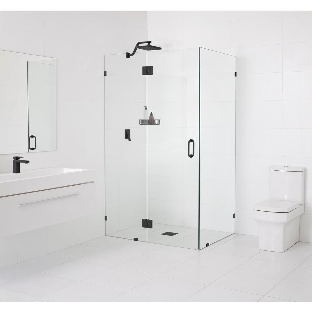 90° Glass-Hinged 59 in. x 78 in. x 34 in. Frameless Pivot Shower Door in Matte Black