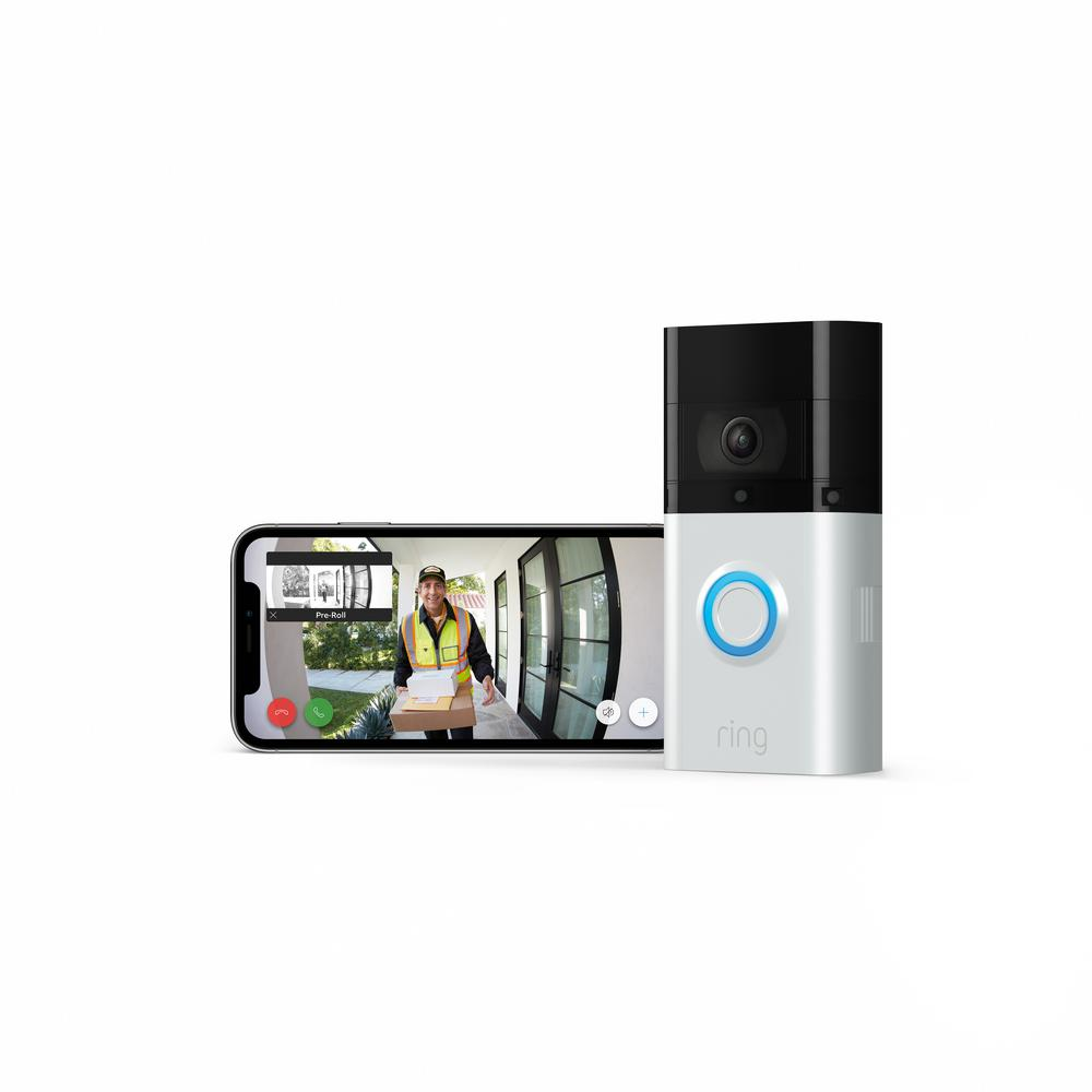 Amazon Wireless and Wired Video Doorbell 3 Plus Smart Home Camera with Echo Show 5- Sandstone, Satin Nickel