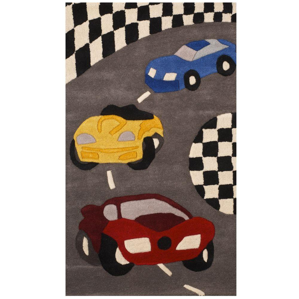 Sams International Kids Racing Multi Color 3 ft. x 5 ft. Area Rug