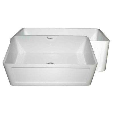 Reversible All-in-One Apron Front Fireclay 27 in. Single Bowl Kitchen Sink in White