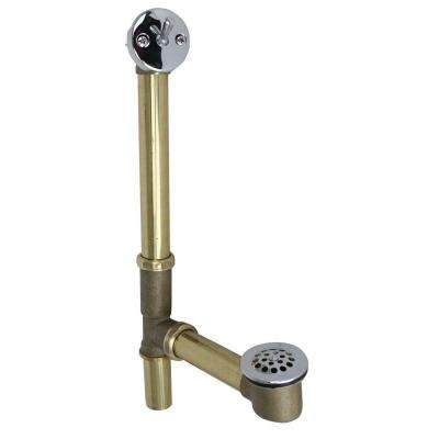 Trip Lever Tubular Bath Waste and Overflow Assembly in Brass with Polished Chrome Trim