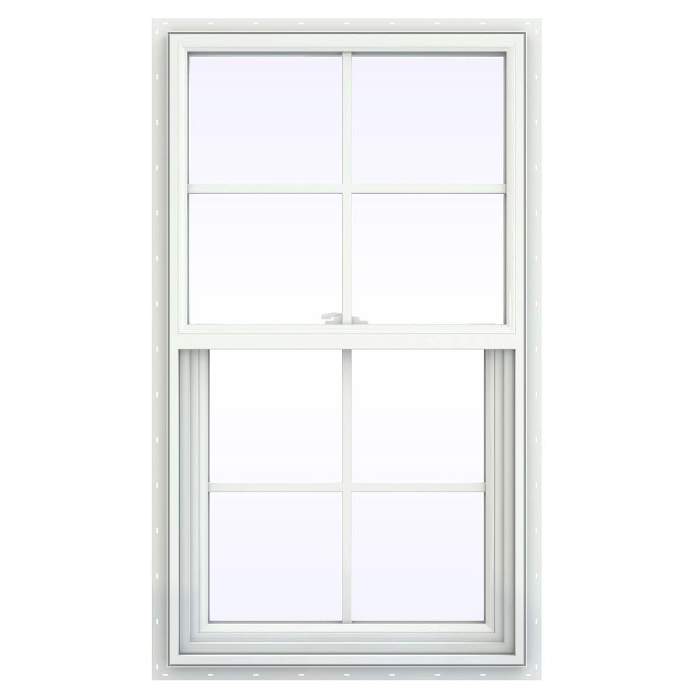 JELD-WEN 23.5 in. x 41.5 in. V-2500 Series Single Hung Vinyl Window with Grids - White