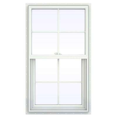 23.5 in. x 41.5 in. V-2500 Series White Vinyl Single Hung Window with Colonial Grids/Grilles