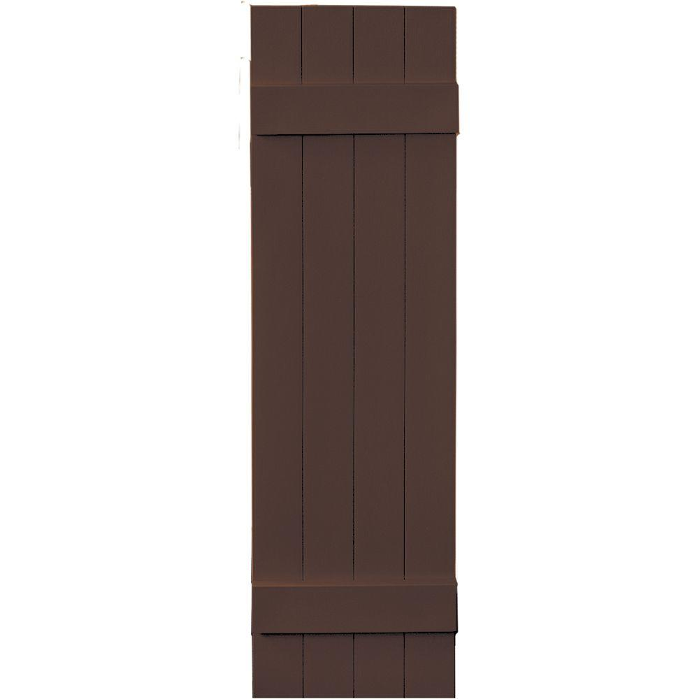 Builders Edge 14 in. x 51 in. Board-N-Batten Shutters Pair, 4 Boards Joined #009 Federal Brown