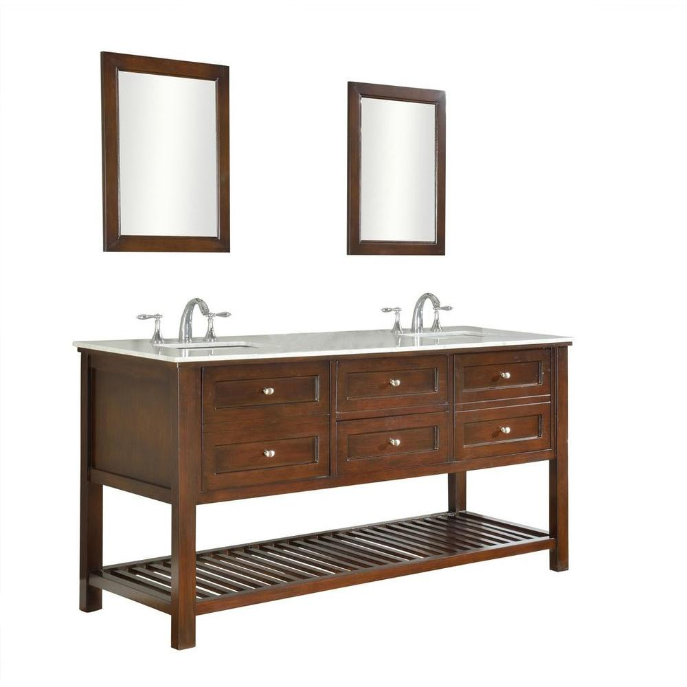 Peachy Direct Vanity Sink Mission Spa 70 In Double Vanity In Dark Brown With Marble Vanity Top In Carrara White And Mirrors Download Free Architecture Designs Embacsunscenecom